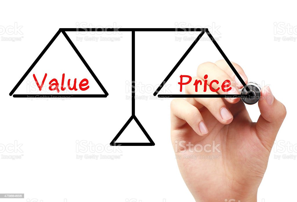 Value and price balance stock photo