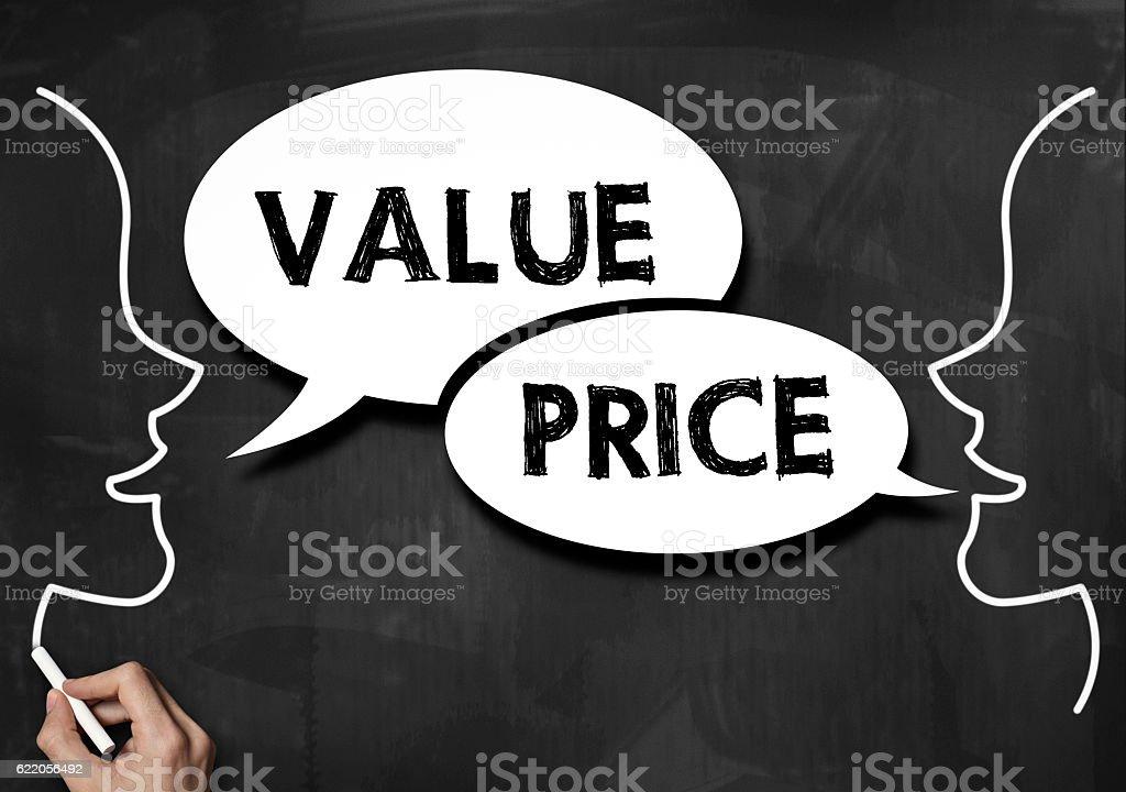 Value and price / Blackboard concept (Click for more) stock photo