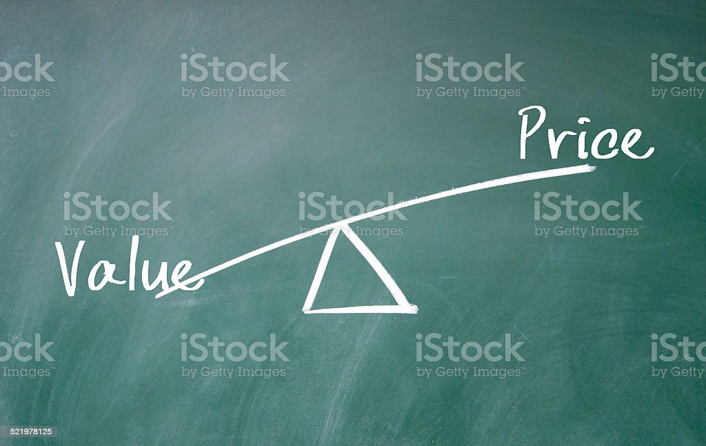 value and price concept stock photo