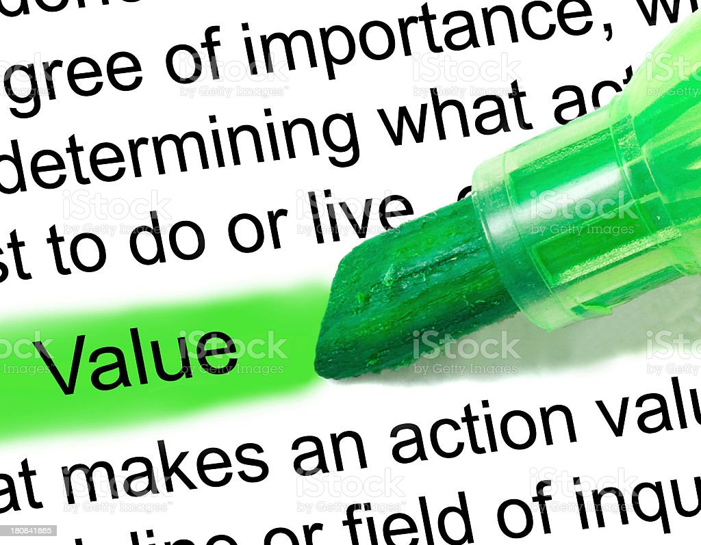 value defintion marked in dictionary stock photo