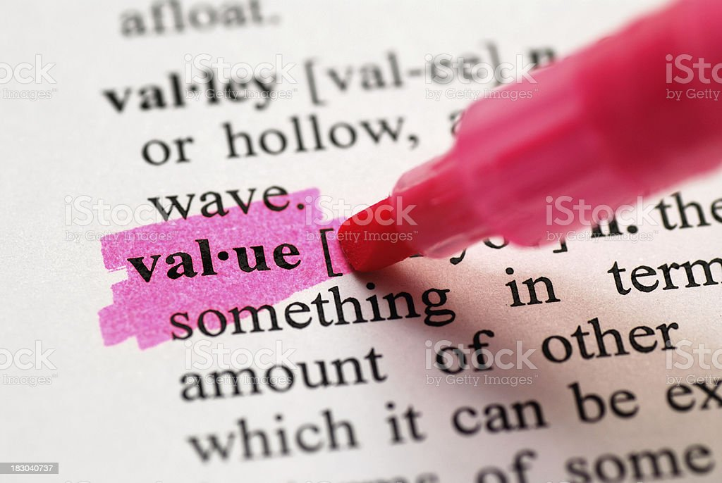Value highlighted in dictionary royalty-free stock photo