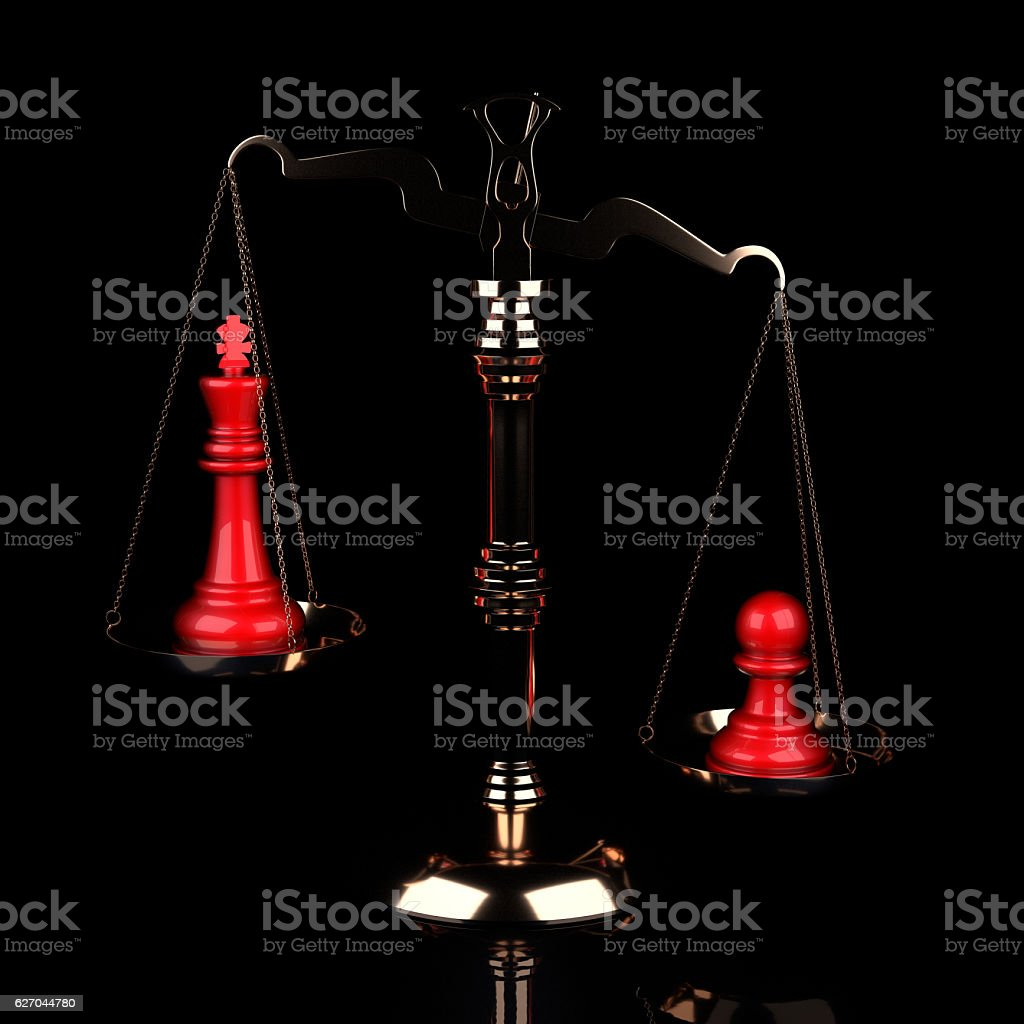 Value of Chessmen Scale Red King Vs Pawn stock photo