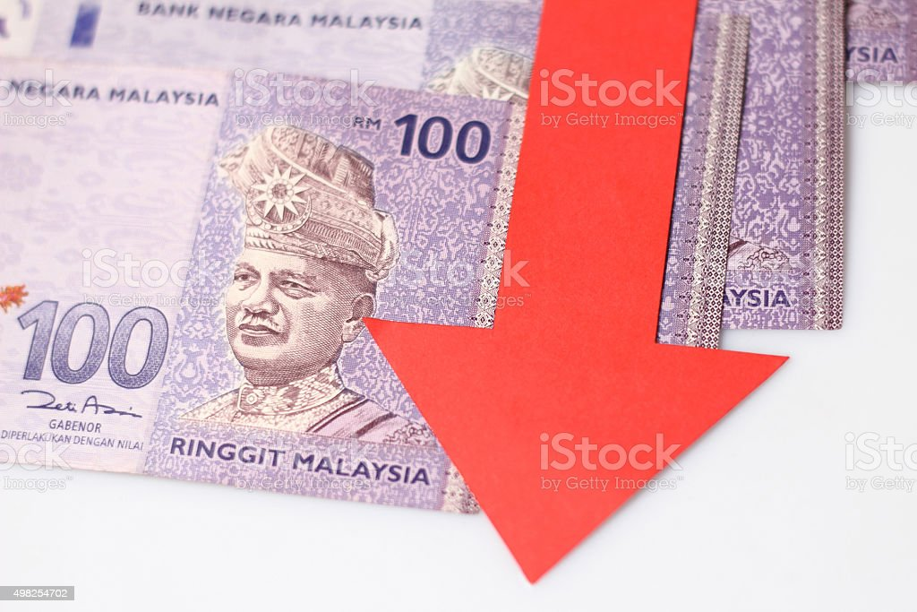 Value of the ringgit malaysia falling stock photo