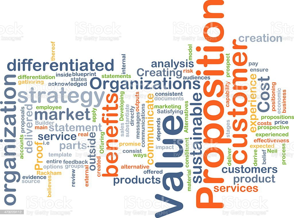 Value proposition background concept stock photo