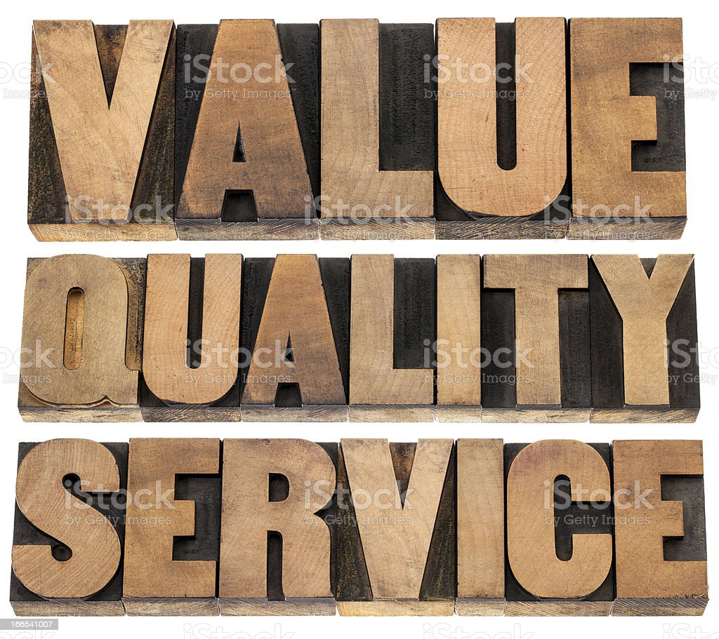 value, quality, service royalty-free stock photo