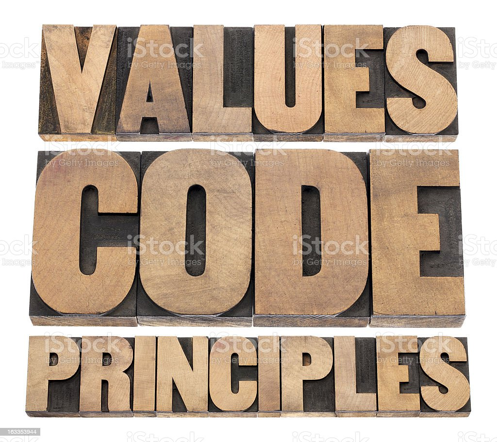 values, code, principles stock photo