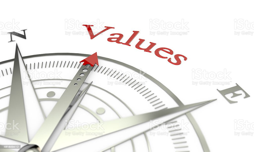 Values compass direction stock photo