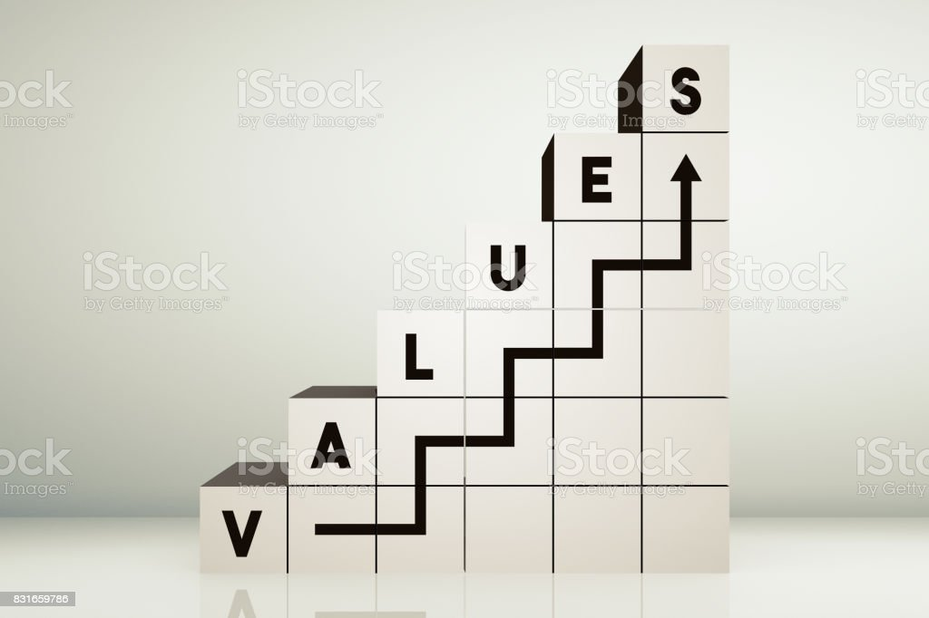 Values Cubes stock photo