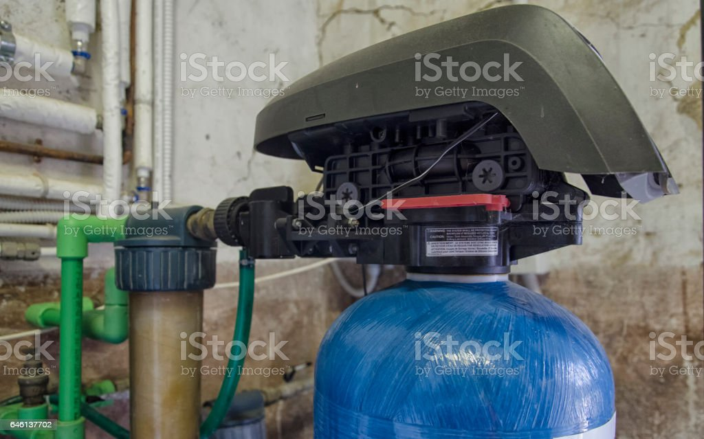 Valve assembly of a water conditioner stock photo