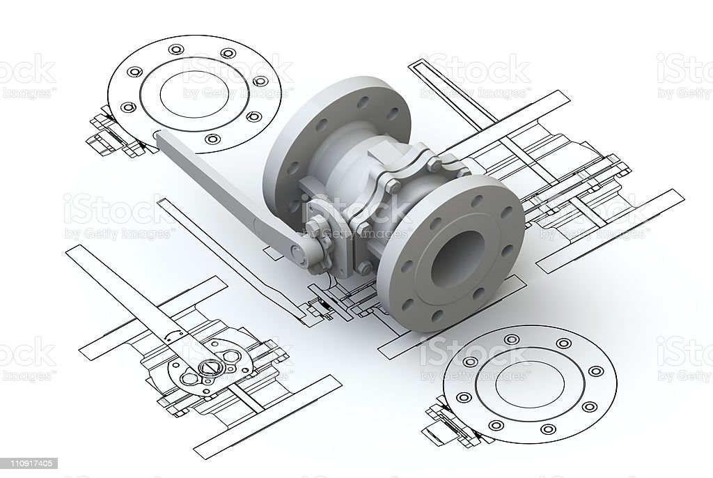 Valve charts with 3d model on top royalty-free stock photo