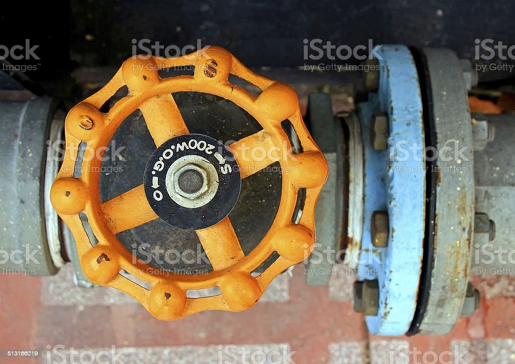 Valve connects to water supply stock photo