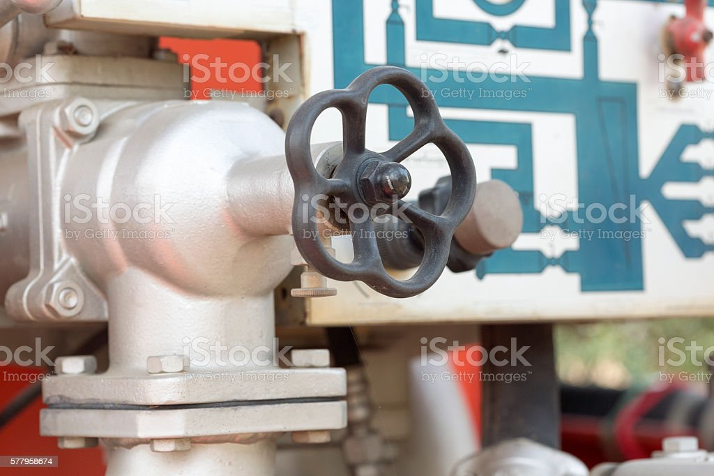 Valve control on firetruck stock photo