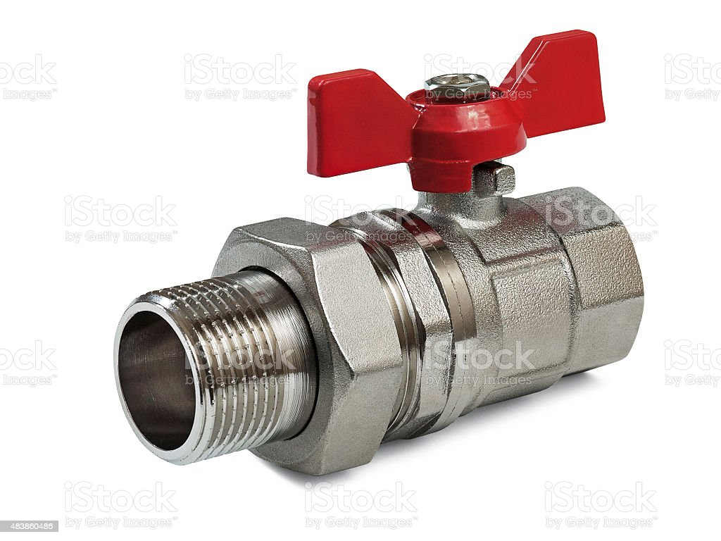 Valve for hot water stock photo