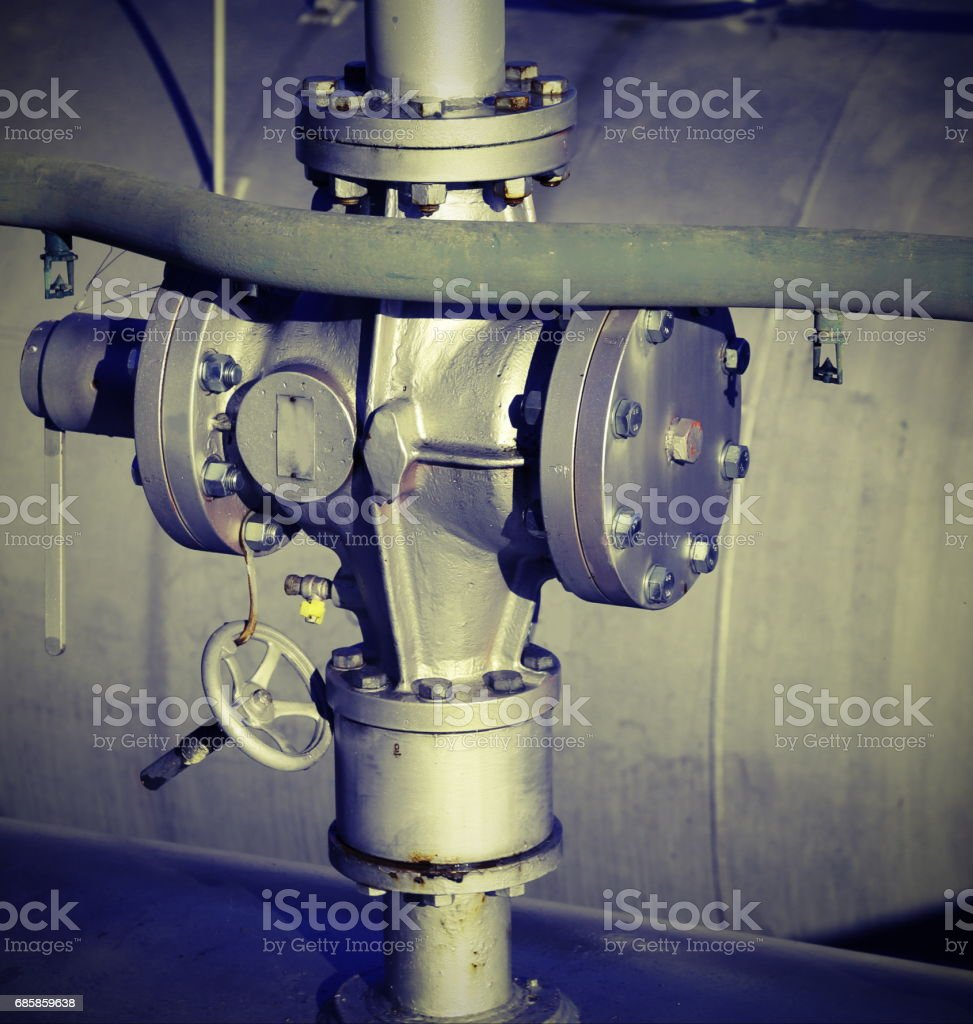 valve for the closure of the distribution of methane gas with lomo effect stock photo
