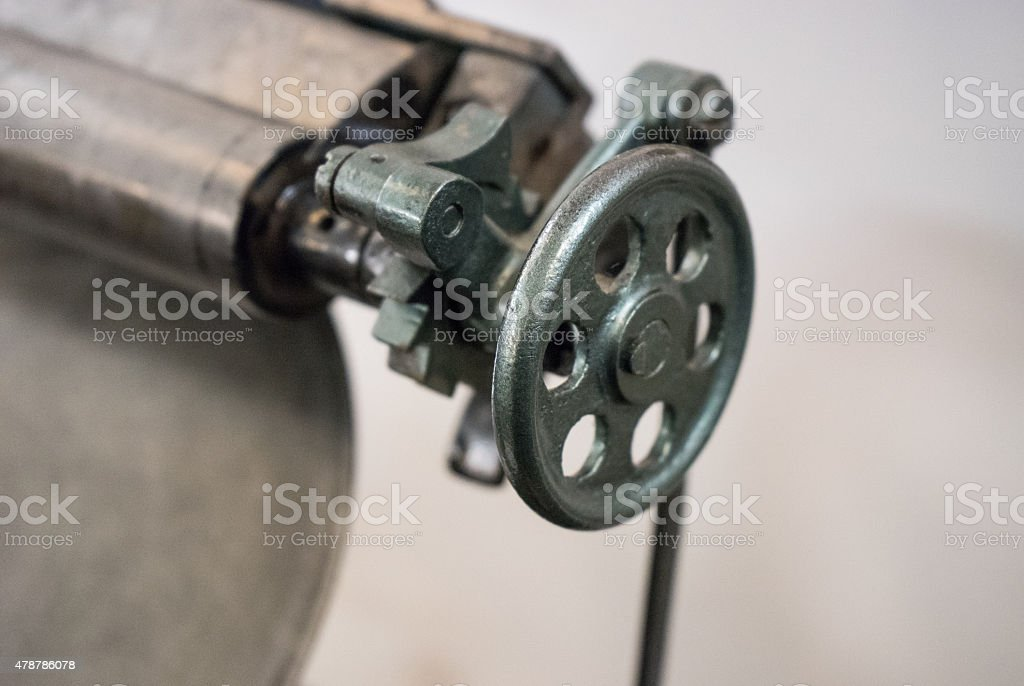 Valve  of the old machine in printing house stock photo