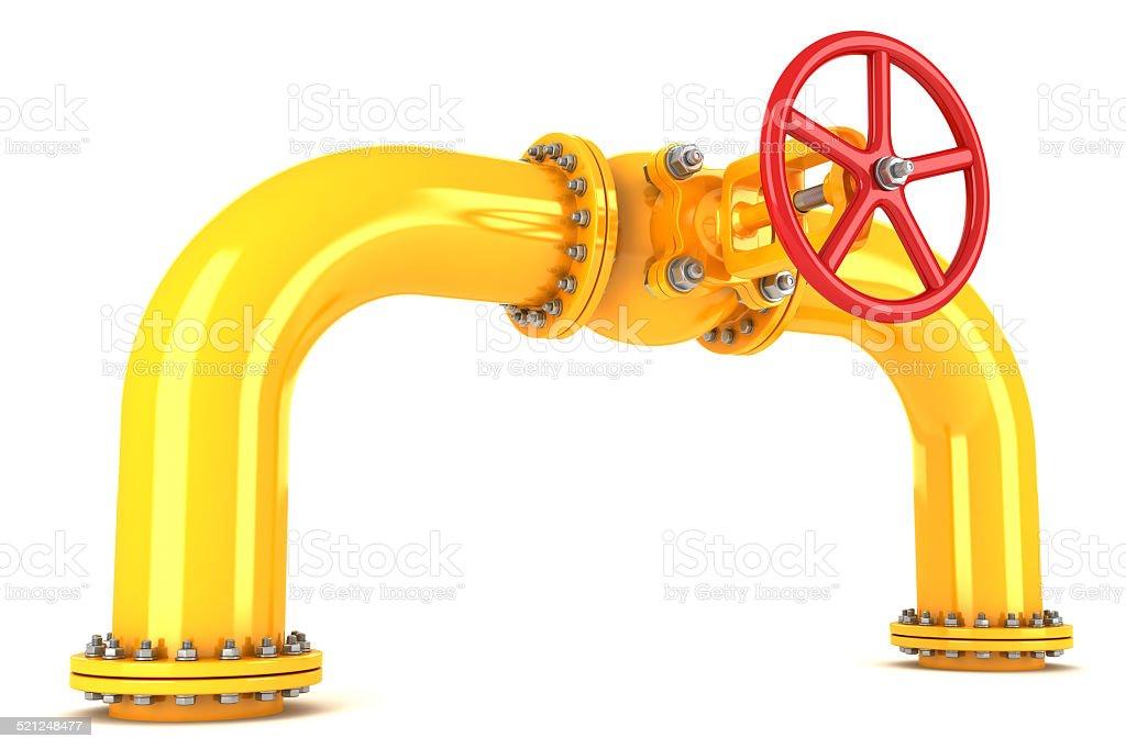 Valve on yellow pipeline stock photo