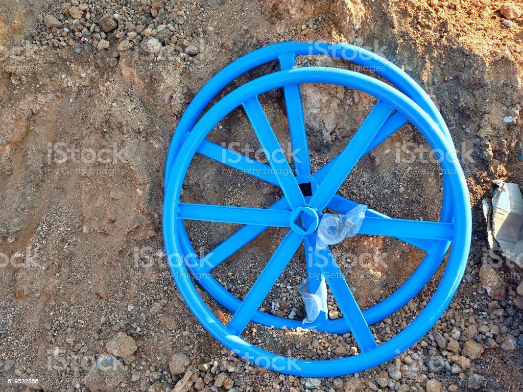 Valve wheel for 500mm Industrial Valve Wheel ready for assambly stock photo