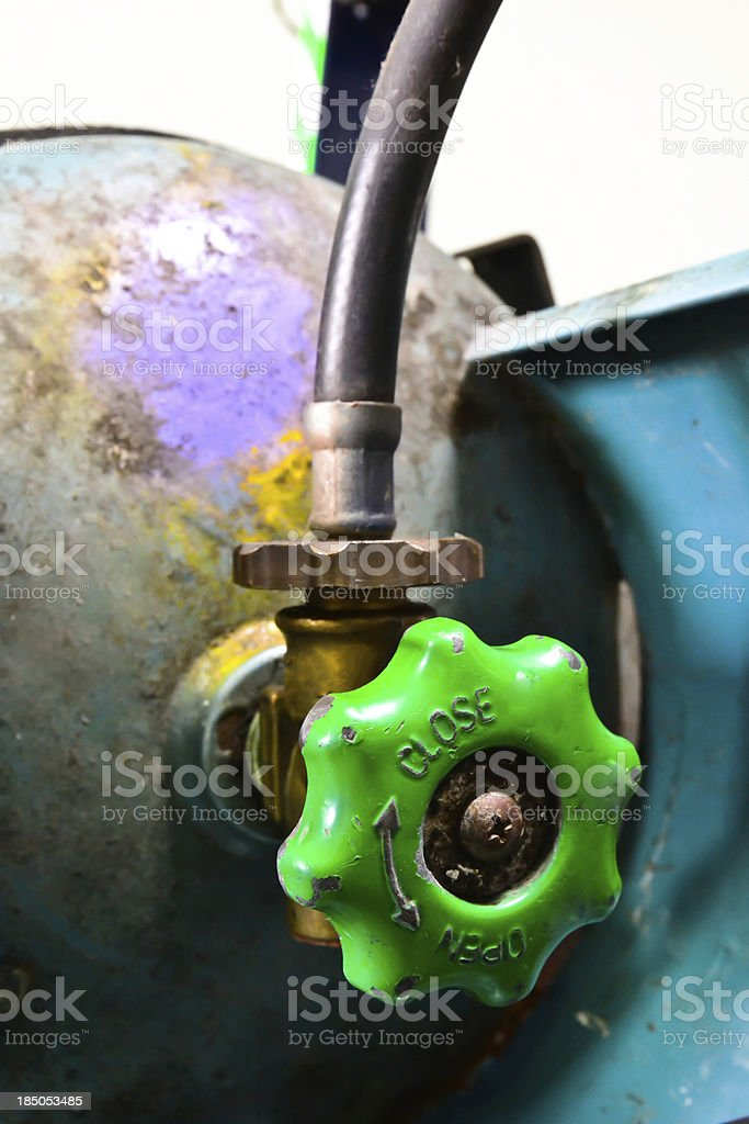 Valves and piping gas tank royalty-free stock photo