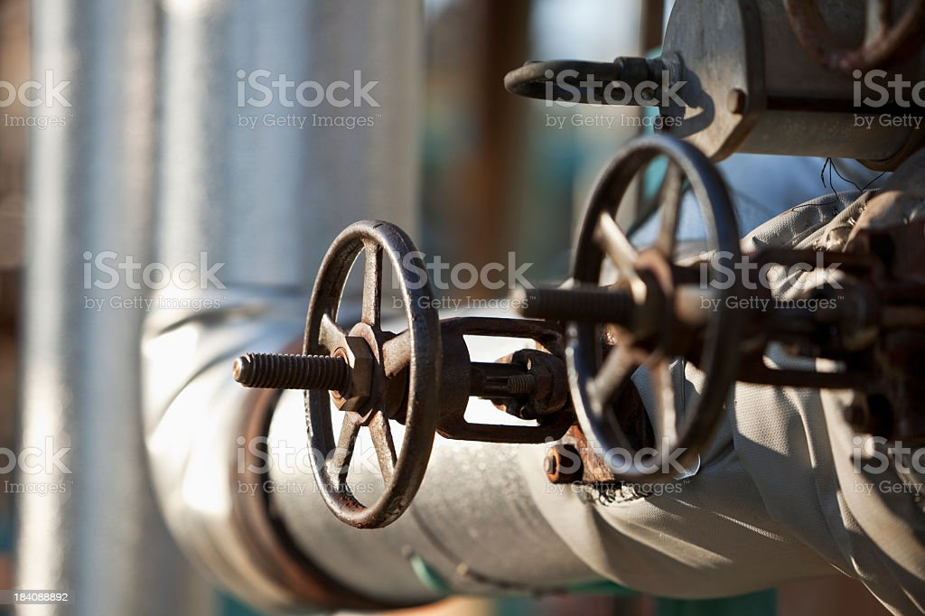 Valves at chemical plant royalty-free stock photo