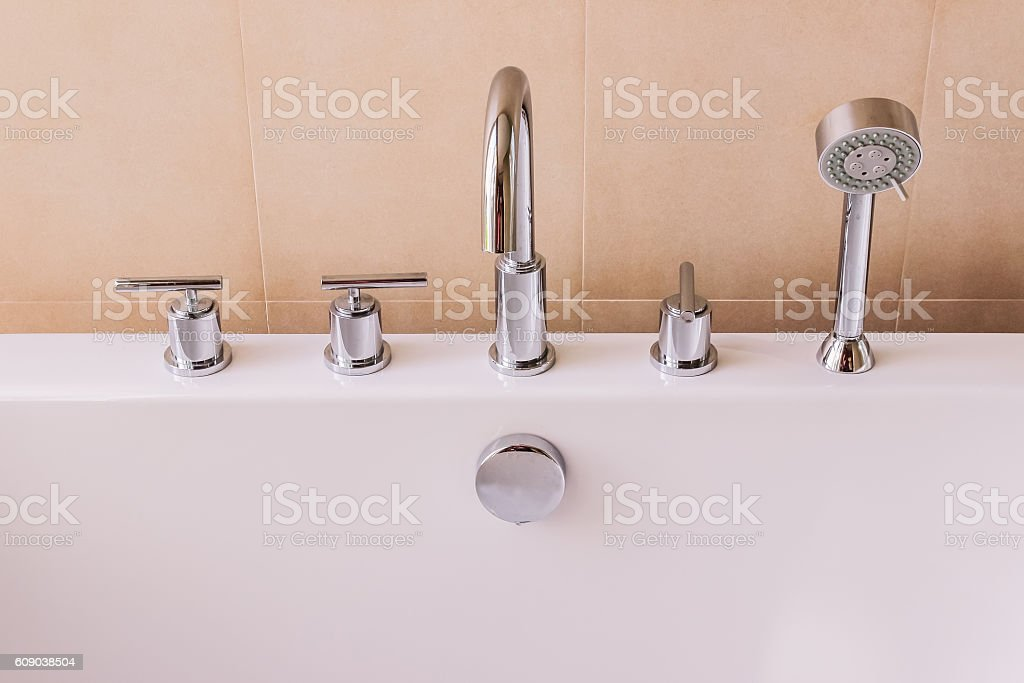 Valves, faucet and shower head of of modern style bath stock photo