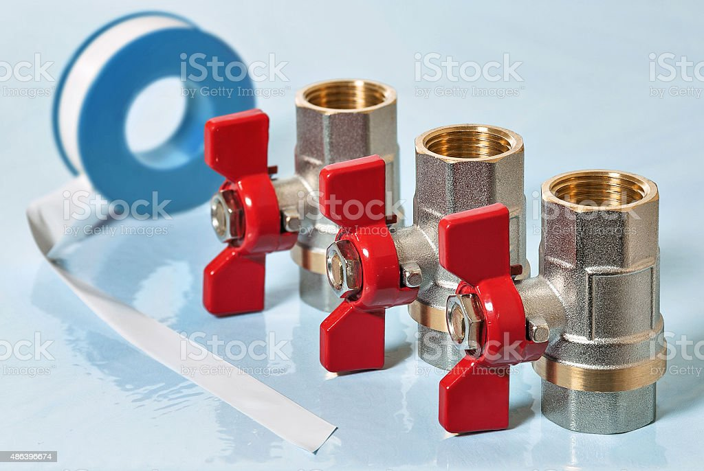 Valves for hot water stock photo