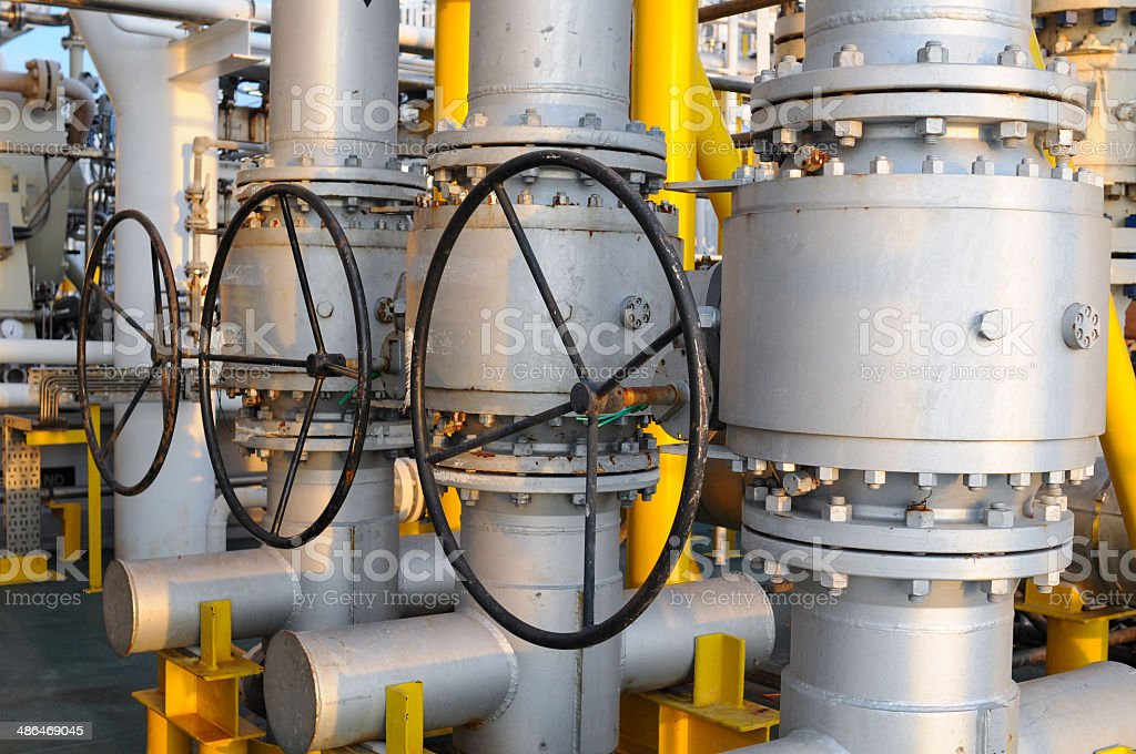Valves manual in the process. stock photo