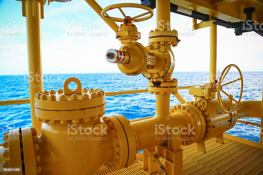 Valves manual in the production process. Production process stock photo