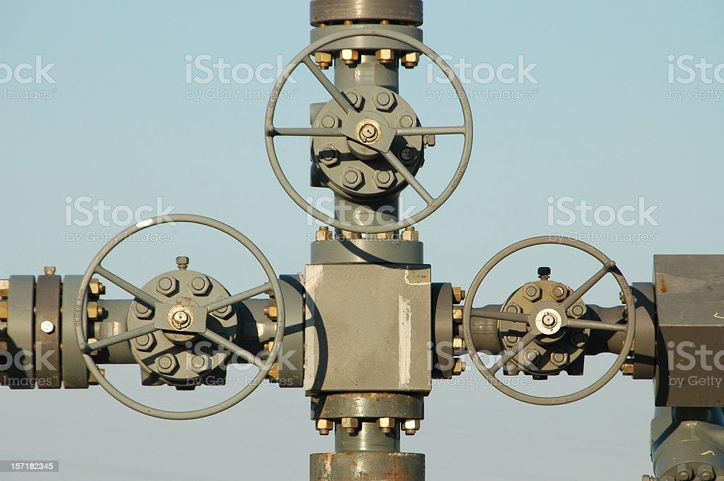 Valves on a wellhead stock photo