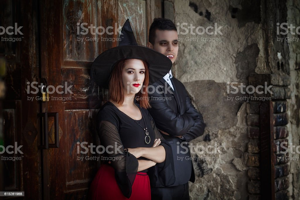 Vampire and Witch stock photo