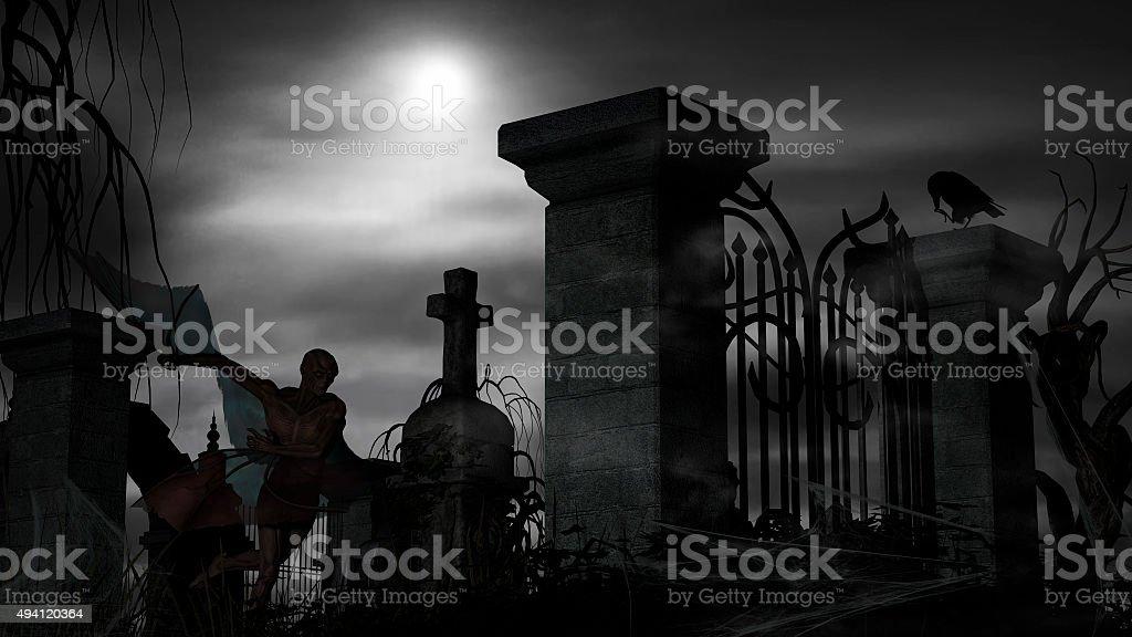 Vampire at a graveyard on a foggy night stock photo