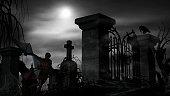 Vampire at a graveyard on a foggy night