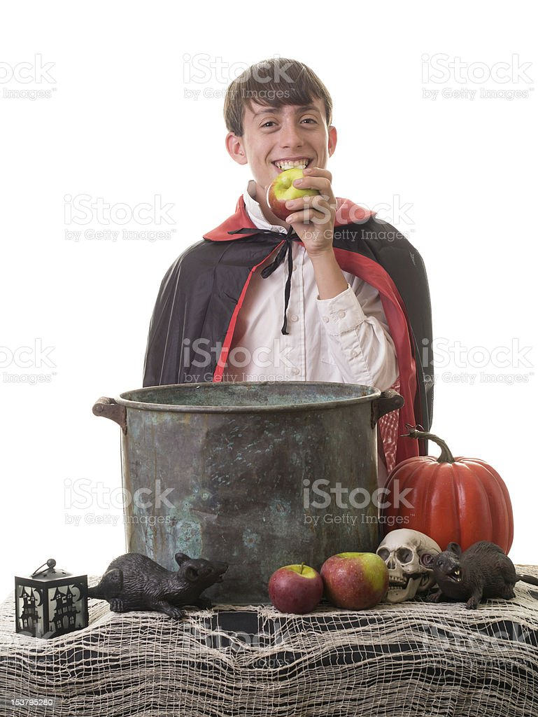 Vampire costumed boy at a Halloween party stock photo