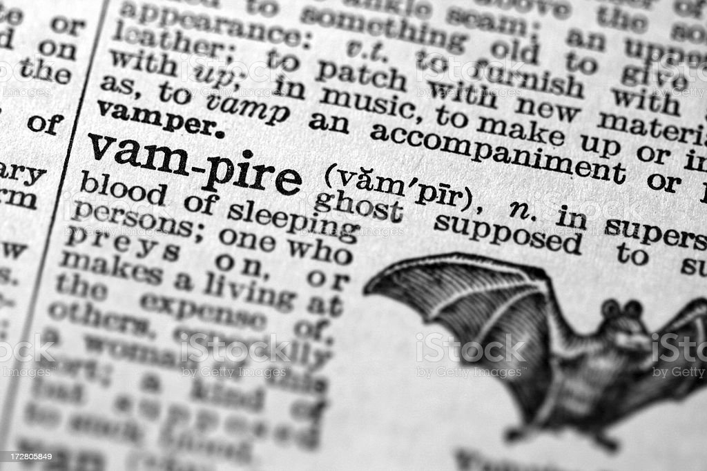 Vampire defined in antique dictionary stock photo