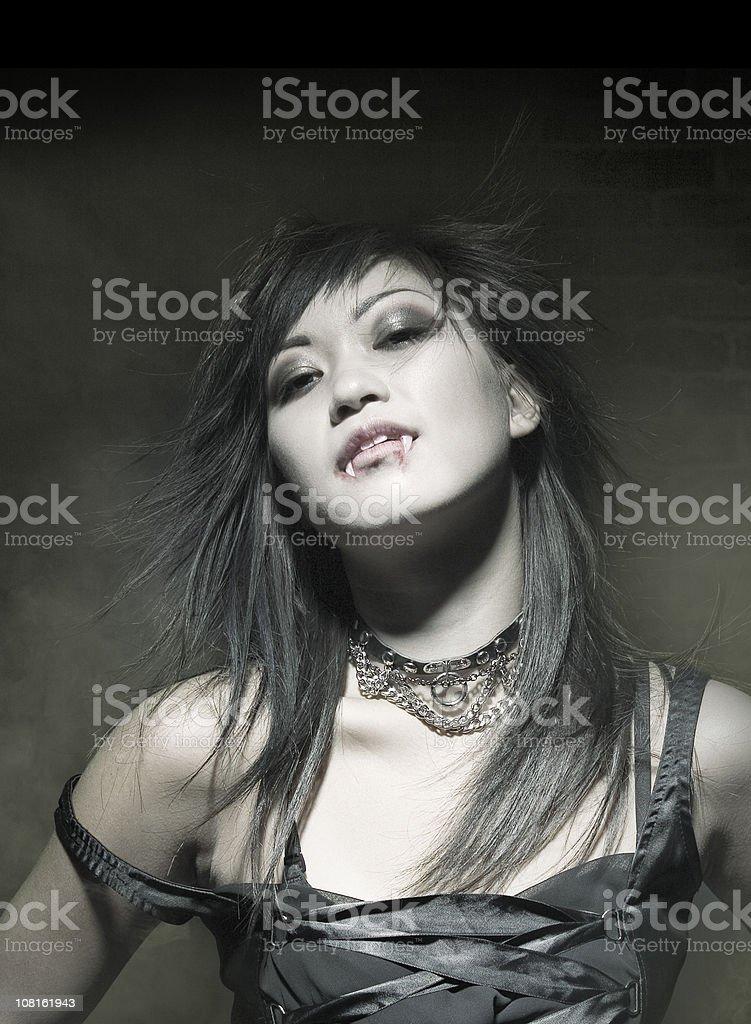 Vampire Girl with the Smoke stock photo