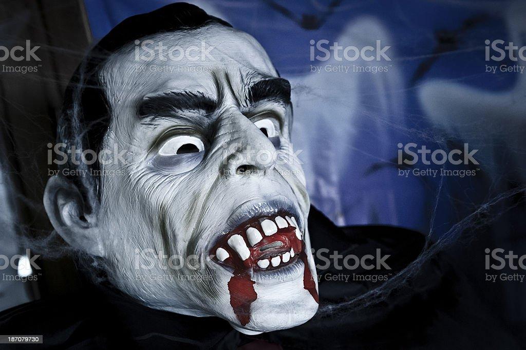 Vampire Halloween Portrait with Bleeding Teeth stock photo