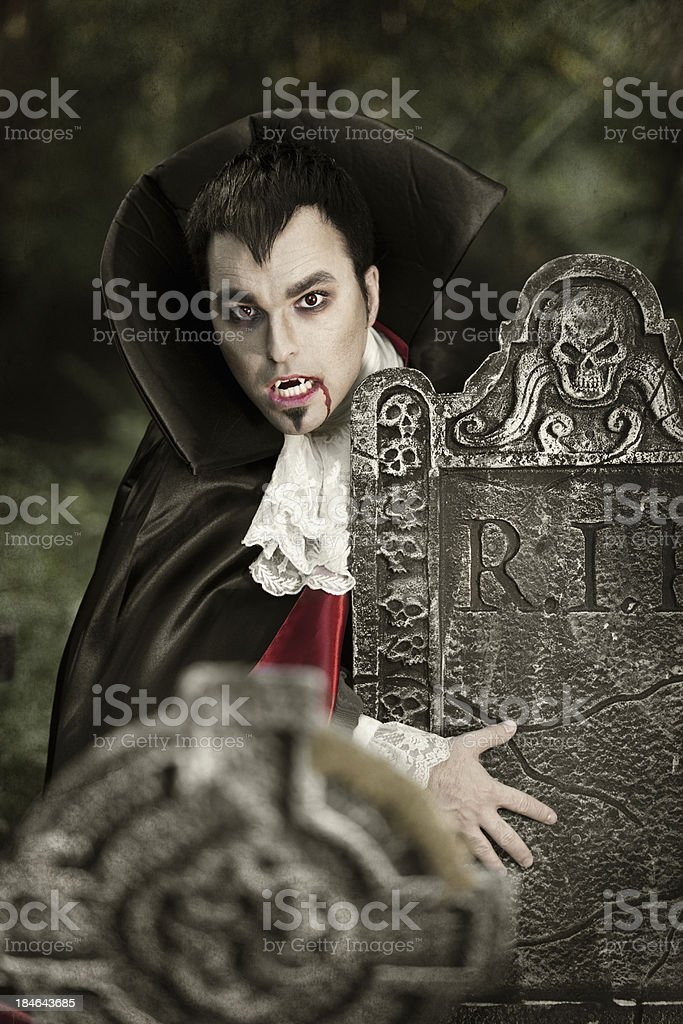Vampire in a cemetery stock photo