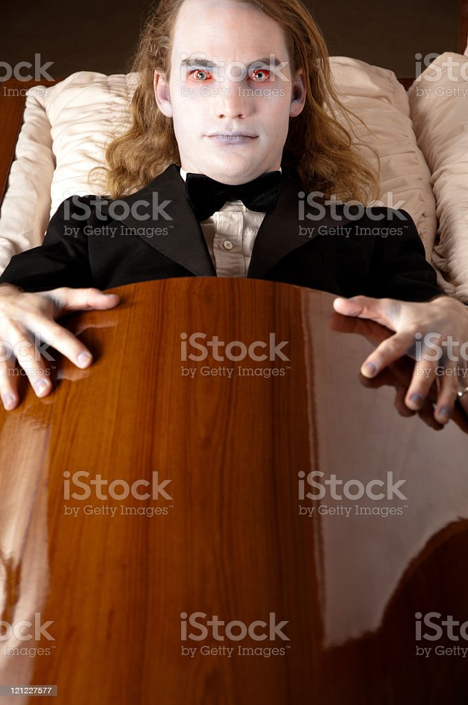 Vampire in coffin royalty-free stock photo