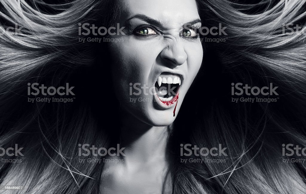 Vampire is screaming. stock photo