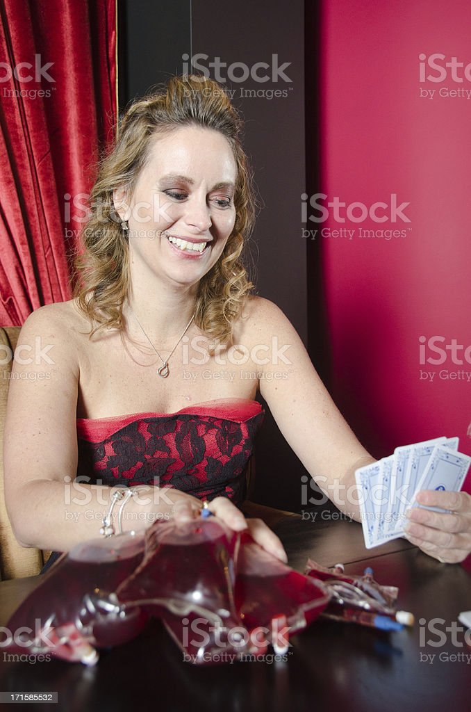 Vampire Poker Player Using Blood As Money Chips royalty-free stock photo