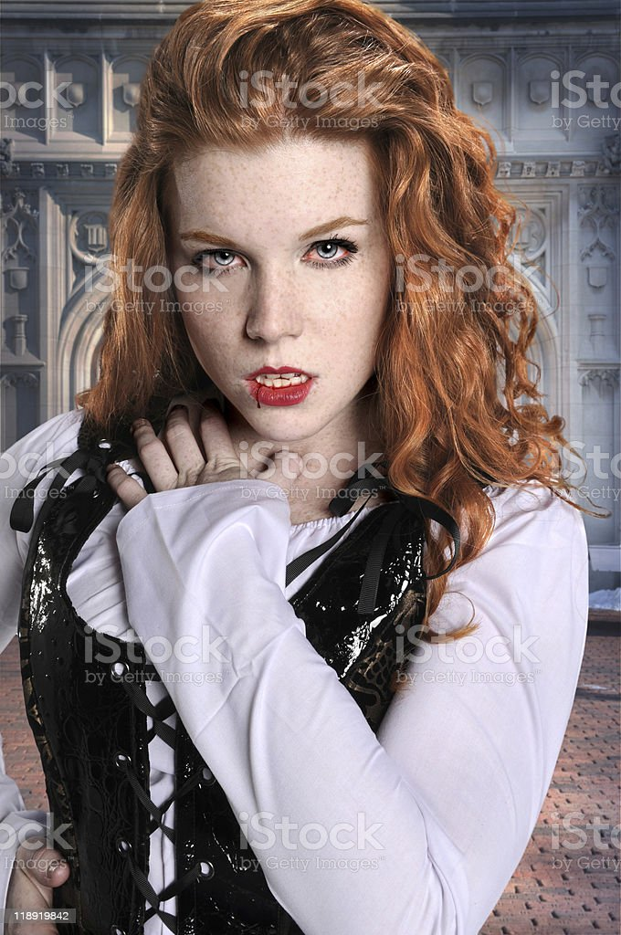 Vampire With Vintage Building royalty-free stock photo