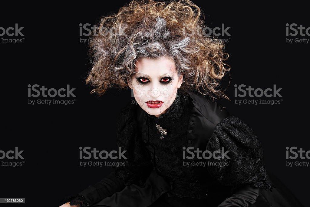 vampire woman portrait, halloween make up stock photo