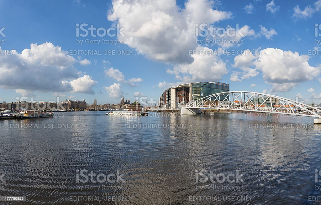 JJ van de Velde Bridge and Ij in Amsterdam stock photo