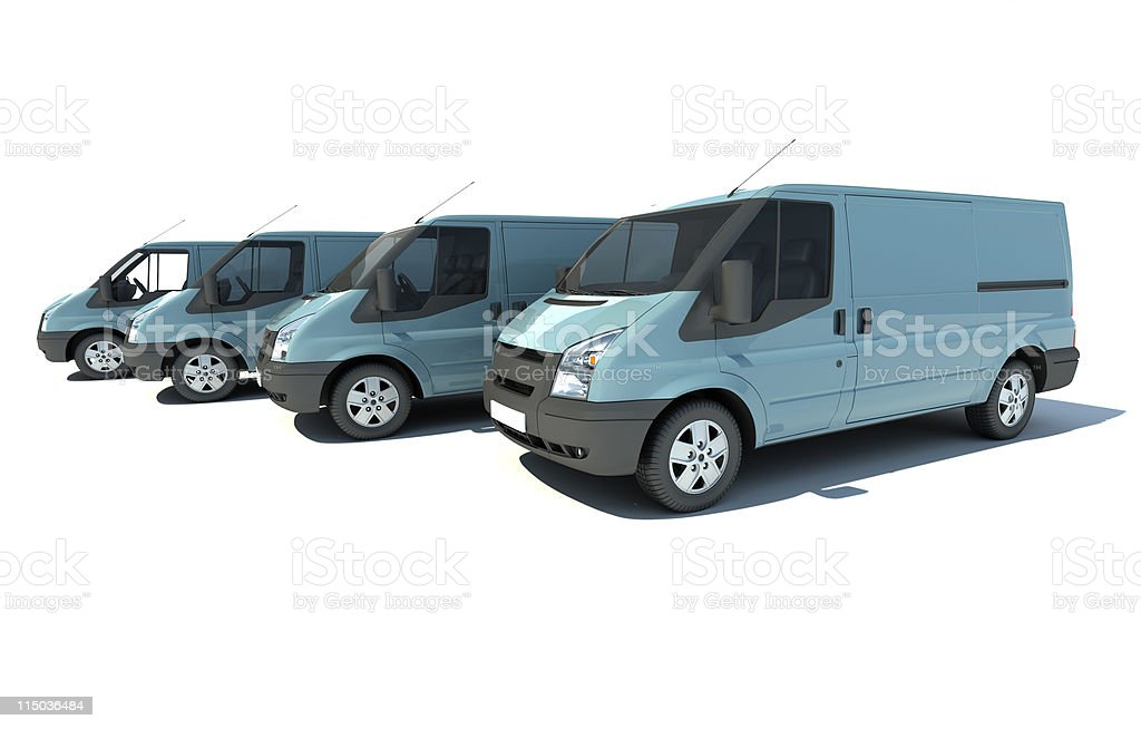 Van fleet in blue grey stock photo