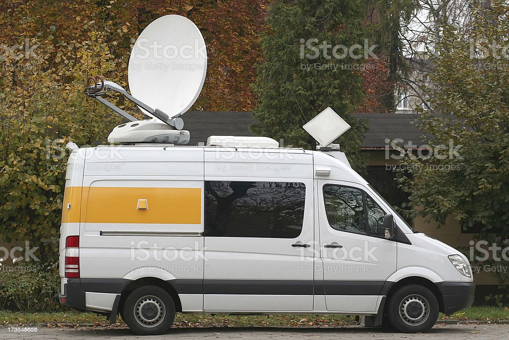Van for TV satellite uplink royalty-free stock photo