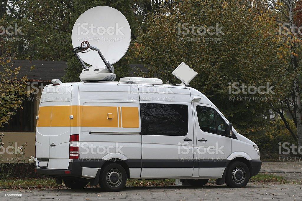 Van for TV satellite uplink stock photo
