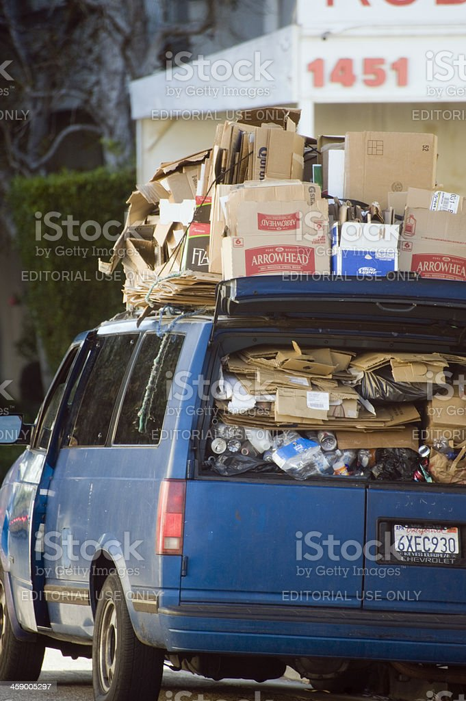 van full of cardboard royalty-free stock photo