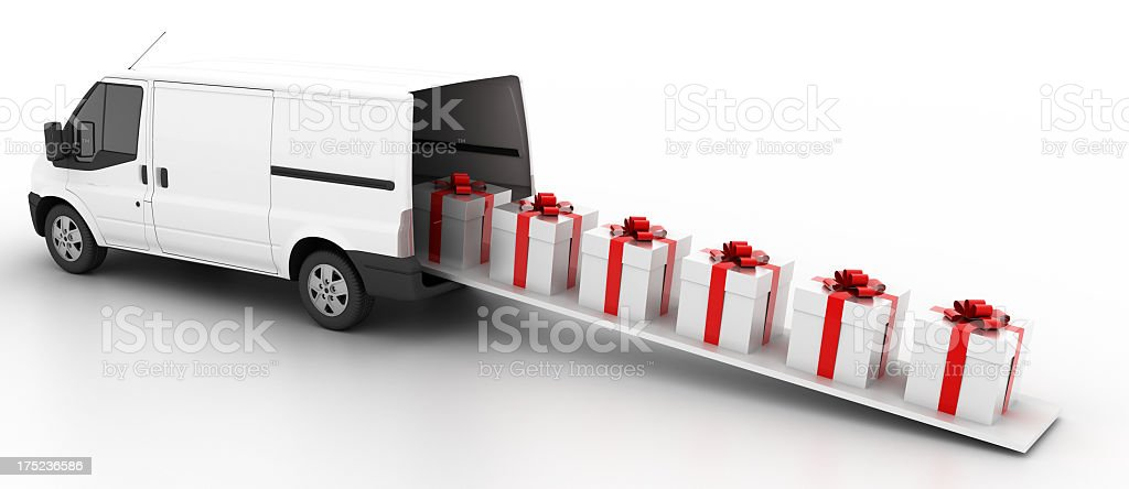Van Full of Gift Boxes royalty-free stock photo