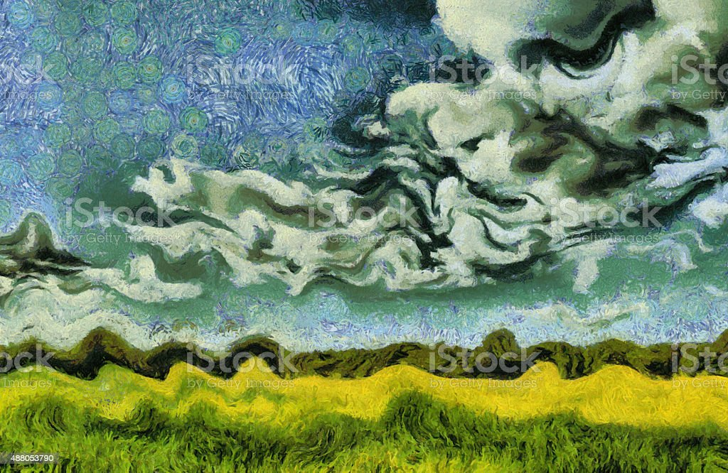 Van Gogh style painting green summer meadow landscape vector art illustration