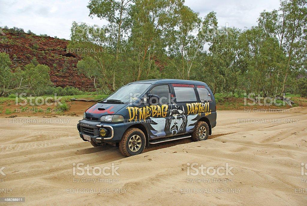 Van in Central Australia stock photo