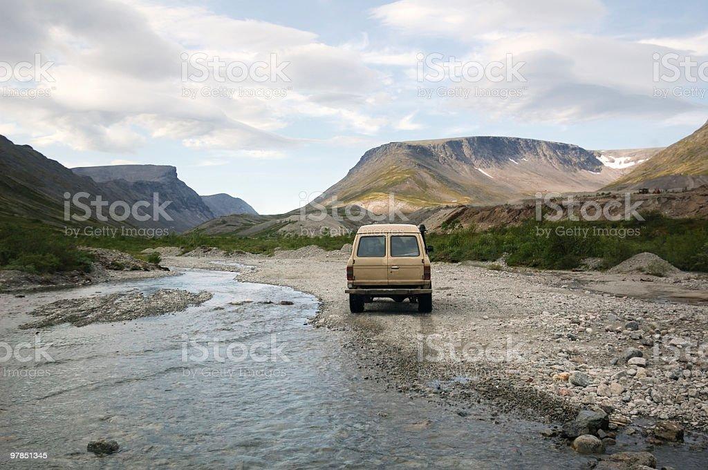 Van in the mountains stock photo